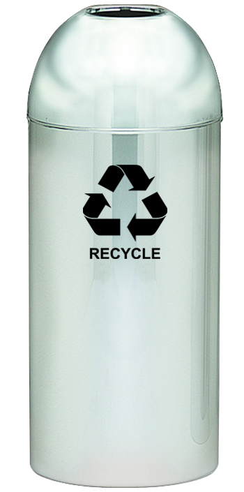 Indoor Polished Metal Dometop Recycling Containers