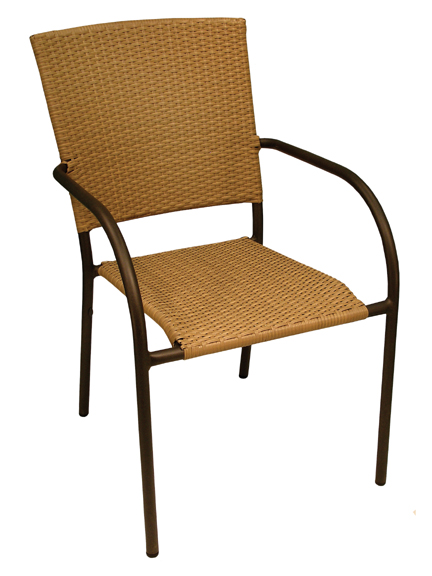 Aruba II Arm Chair - Cappuccino, Natural, Expresso Flat Weave