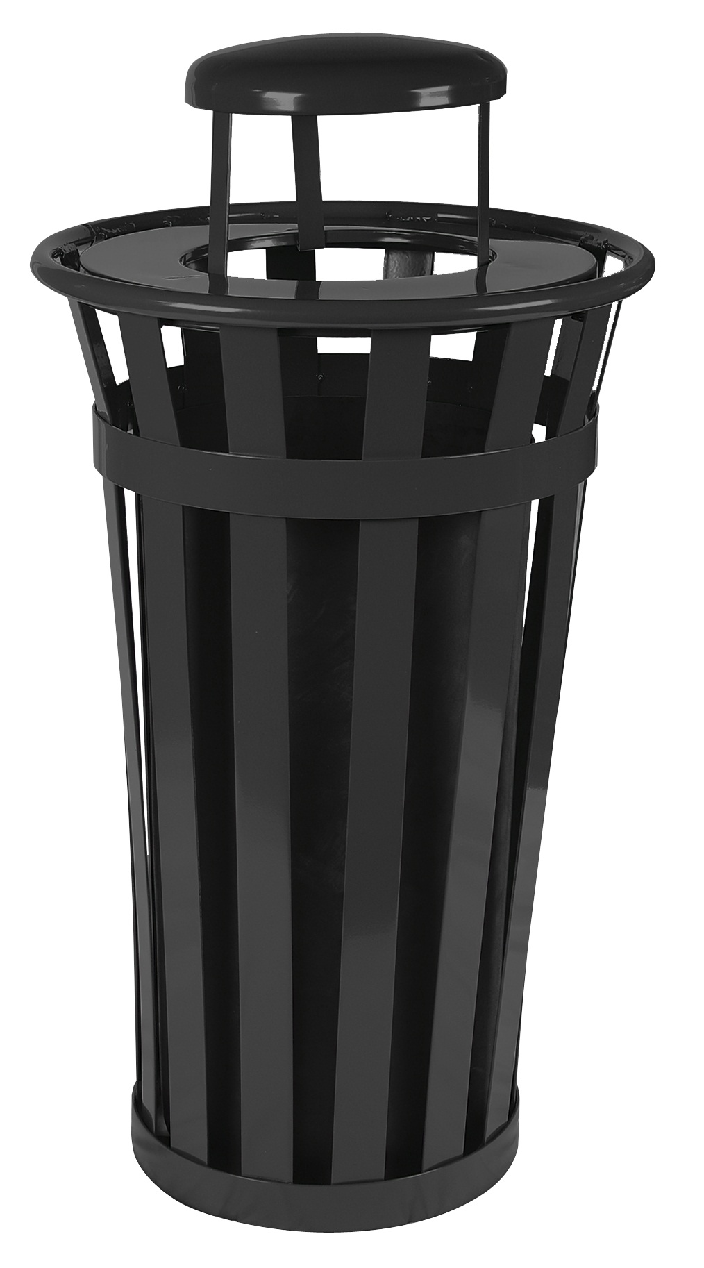 Trash receptacle with rain cap, Outdoor