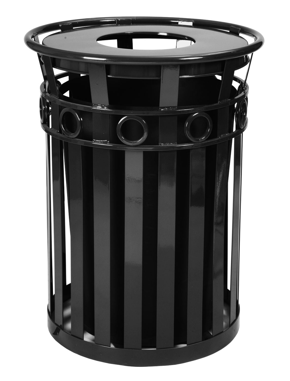 Trash receptacle and flat top lid, Outdoor