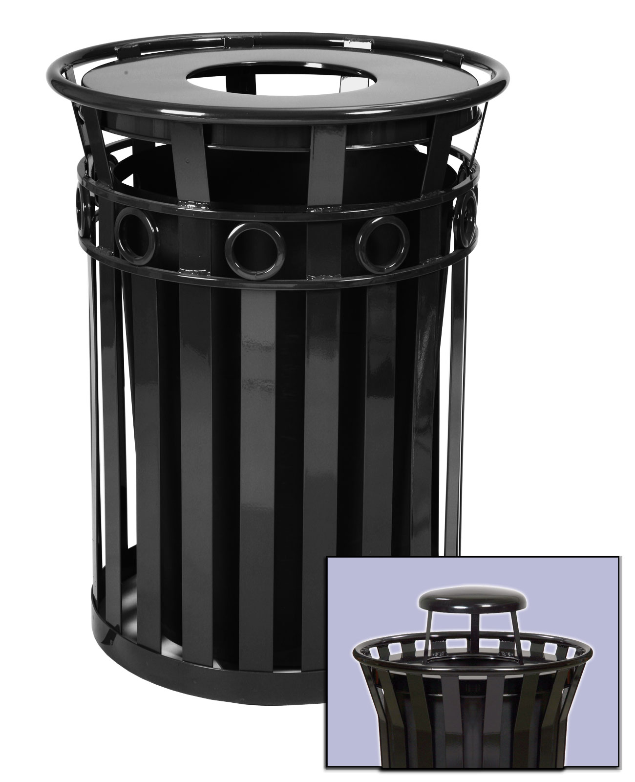 Trash receptacle and rain cap, Outdoor