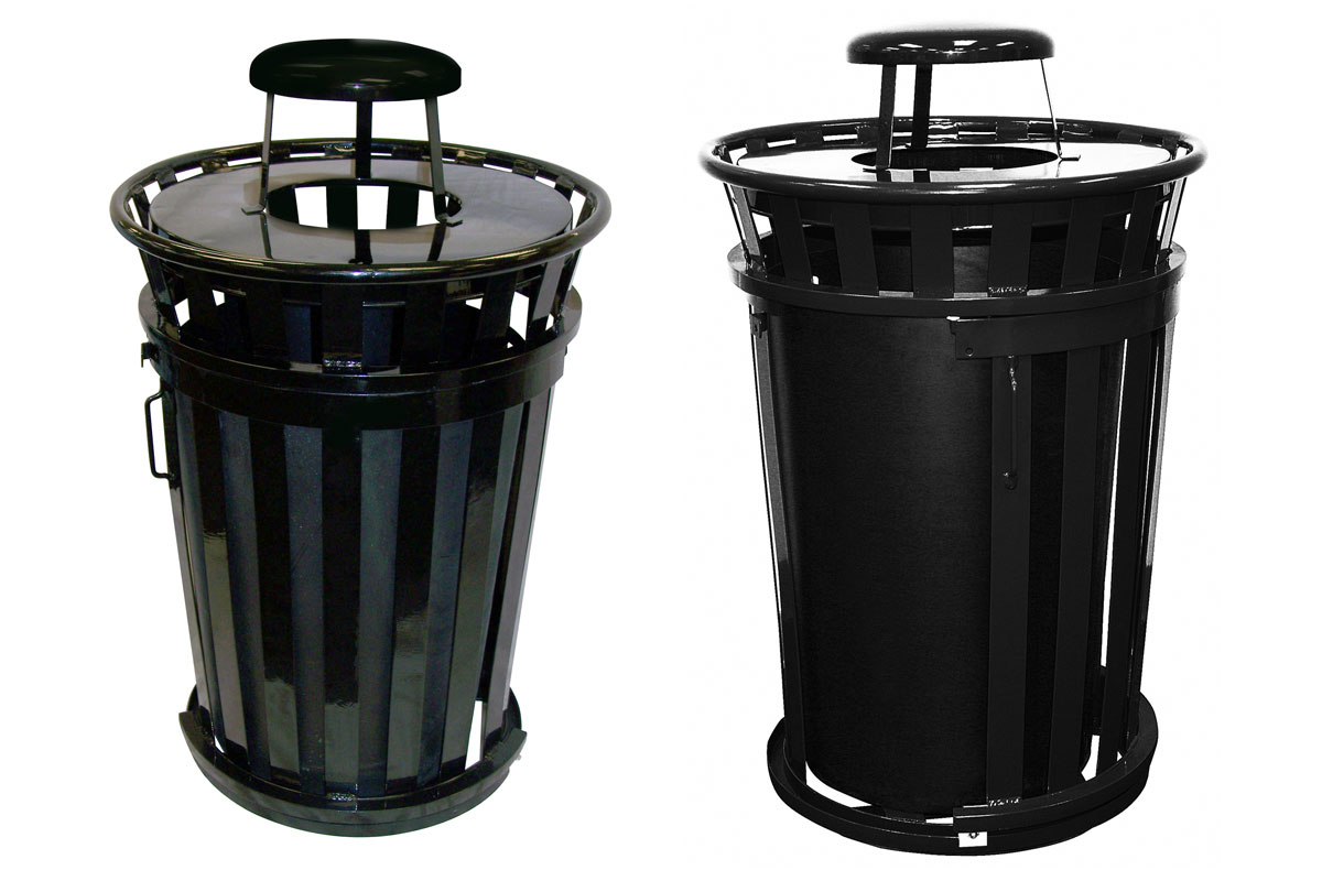 Trash receptacle with rain cap, Outdoor