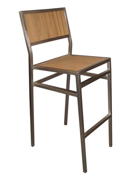 Elegance Aluminum Imitation Teak Barstool Chair