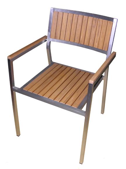 Elegance Aluminum Imitation Teak Arm & Side Chair