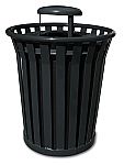 Outdoor Trash Receptacle with Rain Cap Lid