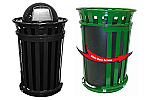 Trash receptacle with dome top, Outdoor