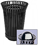 Trash receptacle and rain cap, Outdoor